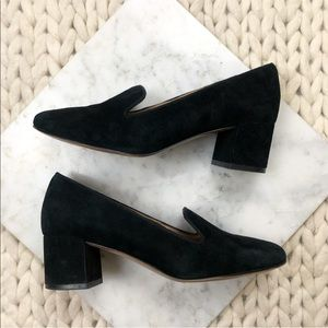 Banana Republic Black Suede Heeled Loafers